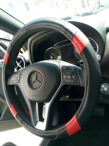 Black Red Pu Leather Steering Wheel Cover Odor Free Non Slip Eco Friendly