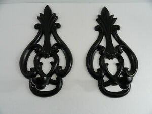 Cast Iron Wall Sconces Pair Candle Stick Holders Black Beautiful Decor 13 5