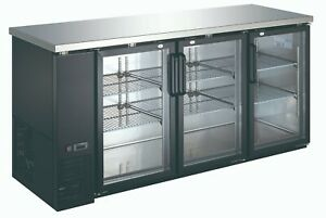 Commercial Refrigerated Triple Door Back Bar Cooler Stainless Steel Top 90 1 4