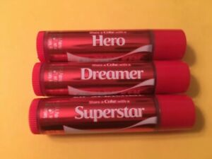 4 Coca Cola Lip Smacker Balms ~ Share a Coke with a Hero Dreamer Superstar +Gift