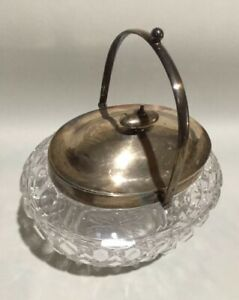 James Dixon Sons English Sterling Silver Large Covered Crystal Candy Dish