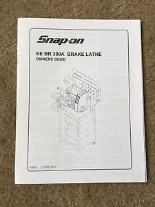 Snap On Tools Eebr300a Brake Lathe Instruction Manual