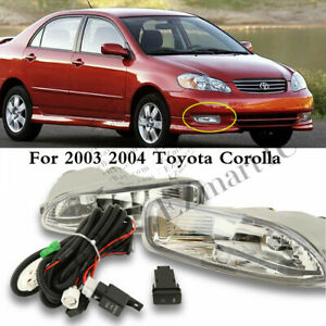 Clear Fog Lights Lamps For Toyota Corolla 2003 2004 Bumper Fog Drl Driving Lamp