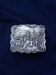Antique Sterling Silver Snuff Box 2 Sided Decoration Scalloped Side 57 Grams