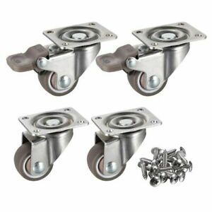 4 Pack 1 Inch Low Profile Casters Wheels Soft Rubber Swivel Caster With 360 Degr