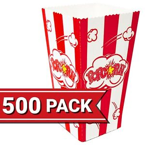 Popcorn Containers Boxes 500 Pack Striped White And Red Paper