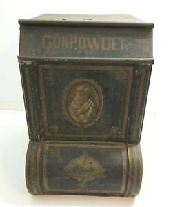 Antique Gunpowder Tea Egyptian Country General Store Metal Display Bin 19 Tall