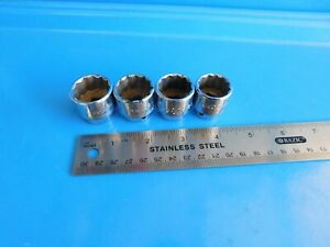 Used Mac Tools 20 21 22 23 Mm Super Short 12 Point Sockets Lot Of 4 Usa