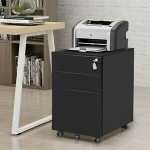 Black Color Lockable Lateral File Cabinet 1 piece Steel Three Drawer Movable