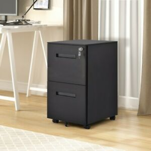 Lateral File Black Color Lockable Cabinet 1 piece Two Drawer Movable