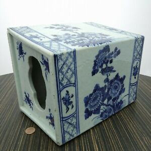 Antique Chinese Blue And White Oversized Opium Pillow Huge Hand Painted