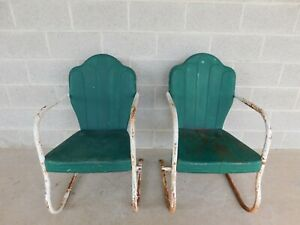 Vintage Steel Spring Base Arm Chairs A Pair