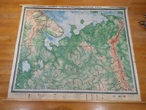 Vintage Physical Map Northern Western Russia Cccp Wall School Chart Russian 1948