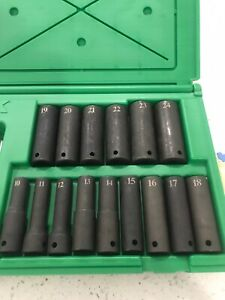 Sk Professional Tools 15 Piece 1 2 Drive 6 Point Metric Deep Impact Socket Set