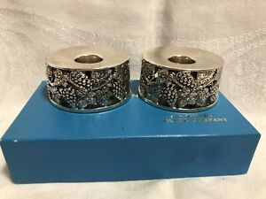 2 F B Rogers Silver Co Candleholders Grapes Leaves Vines Vtg Boxed Nos Japan