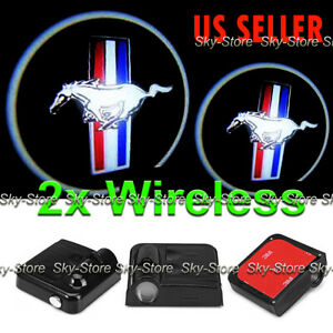 2x Wireless Ghost Shadow Projector Logo Led Door Step Light Courtesy For Mustang