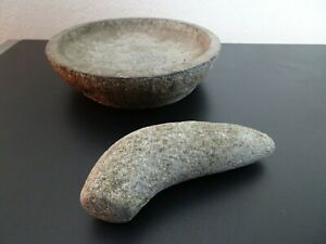 Vintage Molcajete Large Natural Stone Mortar And Pestle 10 X 2 5 X 9