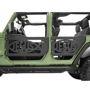 Jesus Fish Tubular Door Full Set With Mirror Fit For 07 18 Jeep Jk Wrangler 4dr