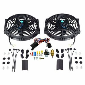 2x 10 Electric Radiator Cooling Fan W Thermostat Relay Mounting Kit Black