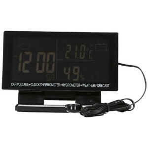 3x 4 In 1 Digital Car Thermometer Hygrometer Dc 12v Lcd Vehicle Voltage Clock We