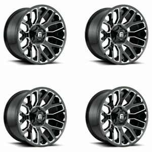 Set 4 20 Fuel D607 Warrior 20x9 Gloss Black Milled 8x180 Wheels 1mm Truck Rims