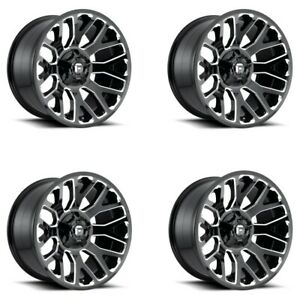 Set 4 20 Fuel D607 Warrior 20x9 Gloss Black Milled 8x180 Wheels 20mm Truck Rims