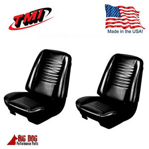 1967 Chevelle Coupe Front Buckets Rear Seat Upholstery Black Vinyl In Stock