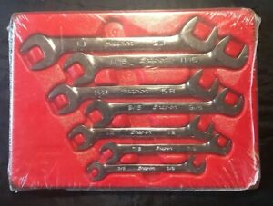 Snap On Tools New Sealed 7pc Four Way Sae Angle Head Open Wrench Set Vs807b