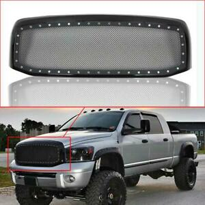 Wire Mesh Grille For 2006 2008 Dodge Ram Rivet Black Stainless Steel Grill Shell