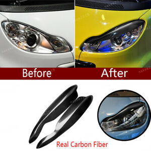 Carbon Fiber Headlight Eyebrow Eyelid Cover Fit For Smart Fortwo W451 2007 2014
