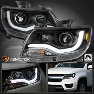 For Black 2015 2020 Chevy Colorado Led Drl Tube Projector Headlights Left Right