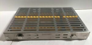 Dental Surgical 20 Instruments Sterilization Cassette Tray Rack Holder Yellow
