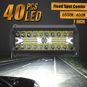 7 Inch 400w Led Work Light Bar Flood Spot Combo Driving Offroad Tractor 4wd Suv