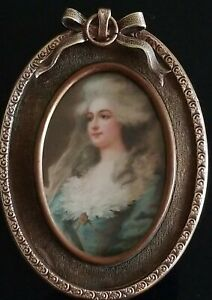 Victorian Antique Brass Ornate Bow Oval Lady Portrait Picture Frame Rare