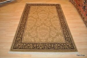 4x6 Tibetan Handmade Hand Knotted Decorative Wool Rug Gray Olive Green Beige