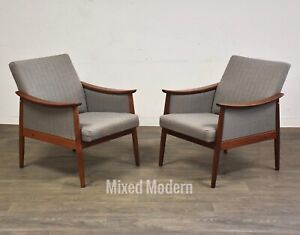 Danish Teak Grey Mid Century Modern Lounge Chairs A Pair