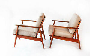 Original Pair Grete Jalk Teak Danish Modern Mid Century Lounge Chairs