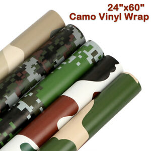 24 X60 Camo Camouflage Vinyl Film Wrap Sticker Bubble Free Uav Car Bike Decor