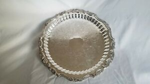 Big Baroque By Wallace Vintage Footed Silver Plate Round Serving Tray 15 249