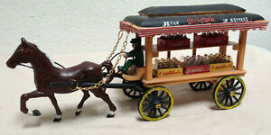 Coca Cola Cast Iron Horse Drawn Wagon Delivery Carriage - Covered Cart - Coke