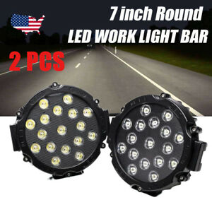 2x 51w 7inch Round Led Offroad Work Light Atv Truck Fog 4wd Suv Pods Slim Black