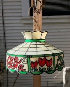 Vintage Coca Cola Coke Tiffany Style Plastic Hanging Lamp Light Works Retro VTG