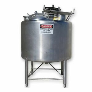 Used 400 Gallon Apv Crepaco Stainless Steel Mix Tank Sanitary Cip System