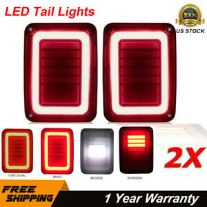 2x Led Tail Lights Brake Turn Signal Reverse Smoked For Jeep Wrangler Jk 07 17