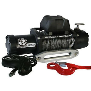 Bulldog 10045 9500lb Winch W 5 5hp Series Wound 100ft Synthetic Rope Aluminum