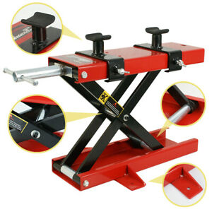 1100 Lb Mini Red Motorcycle Scissor Center Lift Jack Hoist Dirt Bike Scooter