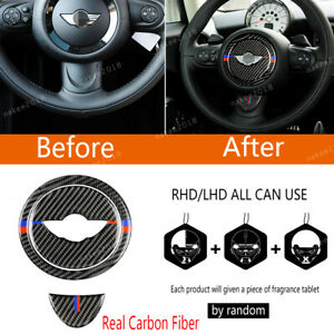 Real Carbon Fiber Steering Wheel Panel Trim For Mini Cooper R55 R56 2007 2013