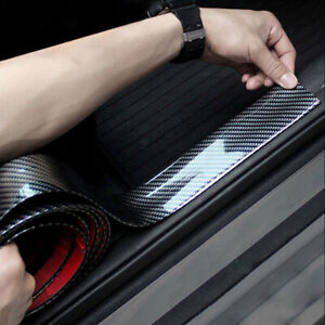 Car Accessories Carbon Fiber Door Plate Sill Scuff Cover Anti Scratch Sticker 1m
