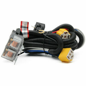 Kit 2 Headlight H4 Headlamp Light Bulb Ceramic Socket Plugs Relay Wiring Harness