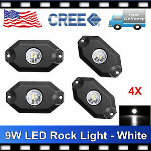 4 White Rock Light Kit 2 Led Dome Lights Off Road Lights White Pod Under Car